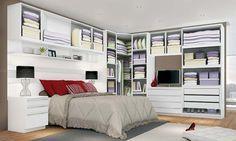 Quarto Modulado de Casal com 12 módulos Exclusive Branco - Henn | Lojas KD