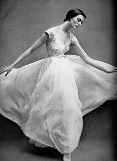 Model wearing a gown by Jacques Griffe, 1957. Photo by Richard Avedon.