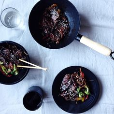 Teriyaki Beef Soba Noodles // @sillmarilli.  Find this #recipe and 20+ more black sesame inspired recipes on our Black Sesame Feed at https://feedfeed.info/black-sesame?img=215845  #feedfeed