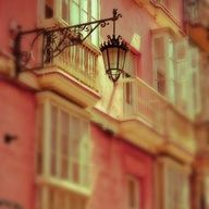 A Light in the Piazza - Fine Art Photography Print of Pastel Buildings in Spain