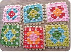Granny Square Cookies - they look delicious! Click for full instructions. These would be great for a crochet club!