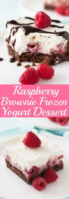 Raspberry Brownie Frozen Yogurt Dessert will cool you off this summer with a chewy chocolate brownie base and smooth, creamy and cool raspberry yogurt and whipped cream! | www.countrysidecravings.com