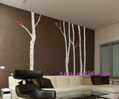 4 birch trees decals:wall decals, nature wall decals, vinyl wall decal, nature wall decal stickers, brich tree, nursery wall stickers