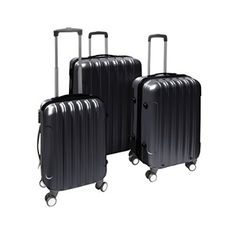 ALEKO® 3 Piece Luggage Travel Bag Set ABS Suitcase With Lock, Black Color - http://luggagetrip.com/aleko-3-piece-luggage-travel-bag-set-abs-suitcase-with-lock-black/