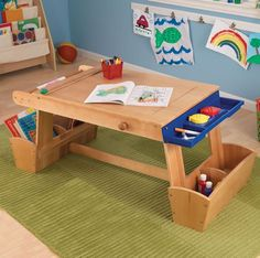 Kidkraft Kids Artist Studio Desk Super Art Play Table With Drying Rack U0026  Storage