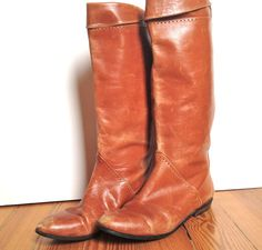 vintage 80s burnt orange leather riding boots by ramblinvintage