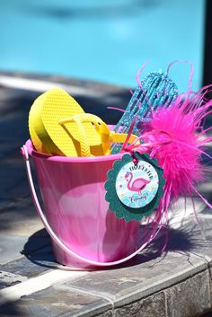 Favors from Pink Flamingo  Pool Party at Kara's Party Ideas. See more at karaspartyideas.com!