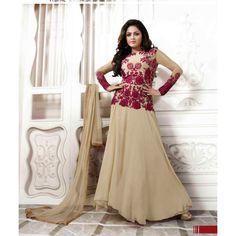 Drashti Dhami Beige Georgette #Anarkali Suits With Dupatta- $72.47