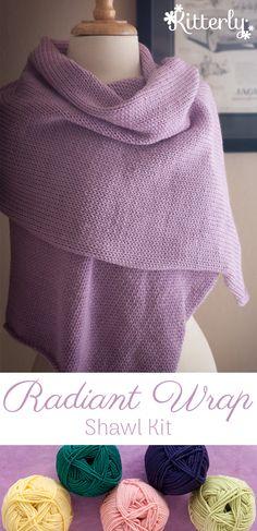 Radiant Wrap shawl knitting kit by Ewe Ewe Yarns. #kitterlykits