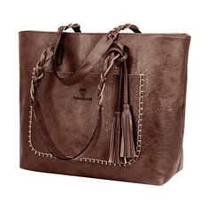Braid Tassels Whipstitch Tote Bag Deep Brown (42 BAM) ❤ liked on Polyvore featuring bags, handbags, tote bags, handbags tote bags, tote purses, shoulder tote bags, brown tote handbags and brown handbags