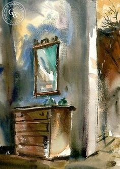 Chest with Mirror, California art by Barse Miller (1904-1973)  . HD giclee art prints for sale at CaliforniaWatercolor.com - original California paintings, & premium giclee prints for sale