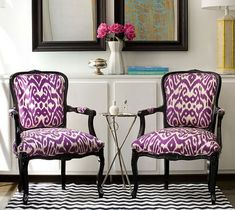 Ikat upholstered chairs