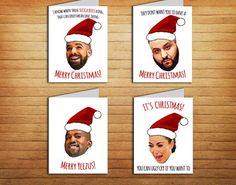 Christmas Cards Set of 4 Printable #christmas #card #pack #printable #download  #drake  #djkhaled  #kanye #west  #kim #kardashian  #funny #holiday #xmas #song #rapper #hiphop #merrychristmas #gift  #yeezy #yeezus #hotline #bling