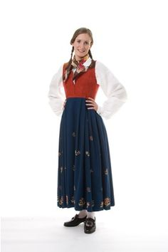 Gudbrandsdalen - Jordet damask liv Skirt can be black or blue plain weave or broadcloth; vest is red damask
