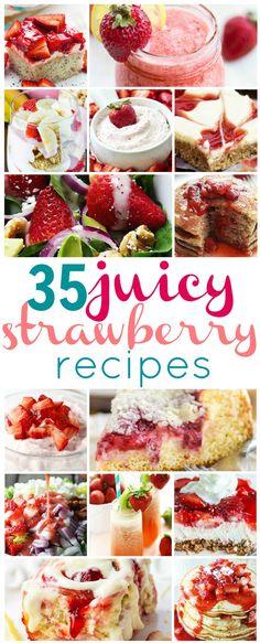 35 Juicy Strawberry Recipes via The Recipe Critic Strawberry Cheesecake Salad, Strawberry Dessert Recipes, Fruit Recipes, Baking Recipes, Summer Recipes, Strawberry Brownies, Strawberry Muffins, Strawberry Banana, Sweets