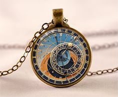 Steampunk Watch Necklace , Clock Pendant , Zodiac Jewelry , Glass Photo Pendant , Astronomical Clock Necklace , (code 0190PB)