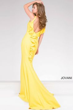 Simple and stunning yellow floor length form fitting ponte prom dress with train features low back with a ruffle and a high neckline with a key hole opening.