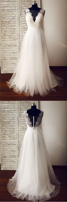 Hot Sales A line Ivory Lace V Neck Wedding Dresses,Off the Shoulder Back V Beach Wedding Dress Summer Bridal Gowns,High Quality Bridal Dress