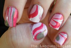 pink water marble manicure