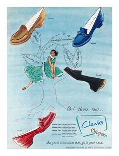 1957 Clarks Clippers shoes ad. #vintage #shoes #1950s