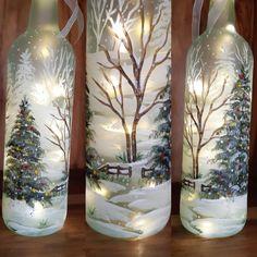 Painted Glass Bottles, Lighted Wine Bottles, Bottle Lights, Glass Vase, Wine Bottle Art, Glass Bottle Crafts, Wine Bottle Trees, Christmas Lights, Winter Christmas
