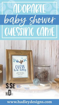 Charming game guests will love! These teddy bear clothesline guessing cards are fun baby games for baby shower; perfect for a baby sprinkle, the polka dot striped cards are adorable baby decorations for baby shower, baby clothes clothes line baby shower decorations boy guess how many baby shower games for boys, guessing games, clothespin baby shower ideas, clothes pins guess how many kisses game, baby shower supplies, light blue stripes baby shower decorations for boys, baby sprinkle decorations Baby Shower Guessing Game, Easy Baby Shower Games, Baby Shower Candy, Guessing Games, Baby Shower Activities, Baby Games, Shower Baby, Baby Sprinkle Games, Baby Sprinkle Decorations