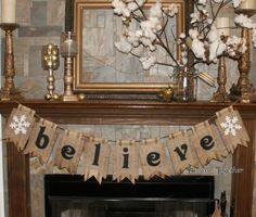 Christmas Banner- Burlap & Black Webbing Pennants- Holiday. $53.00, via Etsy.