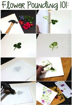 Flower Pounding To Create Faux Watercolor Artwork is part of Pressed flower art - Use a hammer to pound flowers and create artwork on paper (or fabric) Kids Crafts, Summer Crafts, Creative Crafts, Diy And Crafts, Craft Projects, Paper Crafts, Cardboard Crafts, Fabric Crafts, Wood Projects