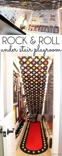 UNDER STAIR PLAYROOM! Turn the disfunctional space under the basement stairs into a rock & roll themed music room for the kids to play, complete with instrument storage, an kids' art gallery wall, records on the ceiling, a sheet music wallpaper, and a sheet metal wall for a magnetic ping pong wall coaster!