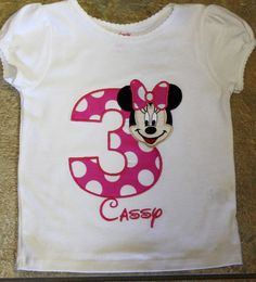 Minnie Mouse Birthday shirt personalized. $22.00, via Etsy.