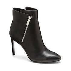 """CHANTEL-Get your strut on in these to-die-for booties. Treat yourself to a taste of luxury with the expertly crafted Chantel. An asymmetrical zipper joins together the back and front panels for a subtle high-low construction. Choose from our three gorgeous options of leather, suede or a calfhair and leather combination.      <li> 3.75"""" heel"""