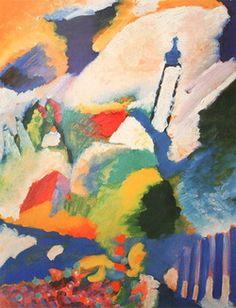 Painter Wassily Kandinsky,   Murnau with a Church.  1910