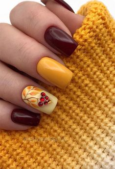 31 Fall Nail Designs to Fall in Love with: Fall Nails to Inspire - Styles Art Fall Gel Nails, Cute Nails For Fall, Fall Acrylic Nails, Autumn Nails, Winter Nails, Nails Design Autumn, Fall Nail Art Designs, Short Nail Designs, Stylish Nails