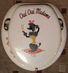 Dear John Hollywood Parisian poodle vintage toilet seat - Retro ...