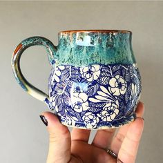 Blue Flower Handmade Pottery Mug