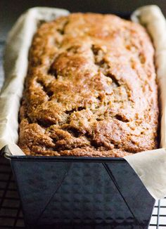 Whole Wheat Banana Bread Recipe - Moist, with a crack on top, without a cup of oil and sweetened only with 1/3 cup of honey and bananas, of course.