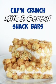 Remember having milk & cereal bars in your school lunches growing up? Now you can make your own! Read on to get the recipe!  http://andthismarinewife.com/2015/08/capn-crunch-milk-cereal-snack-bars.html