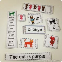 This is a great back to school unit for first grade.. or great for kindergarten anytime! It focuses on the 10 basic color words with some cool, multicolored cats. Great for your Pete the Cat activities!