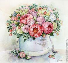 Купить Нежный букет в шляпной корбке - бледно-розовый, красный цвет, коралловый, нежность, роскошь
