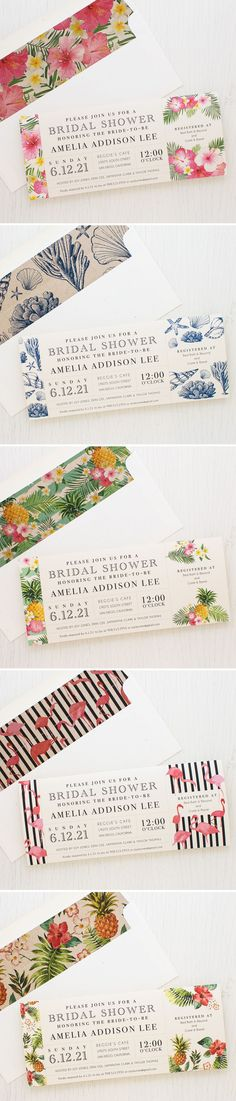 Aloha! Pineapple Party, Pink Flamingo & Tropical Floral Bridal Shower Invites. Complete with darling envelope liners. New from Beacon Lane for 2017 brides-to-be!