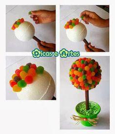 más y más manualidades: Como hacer un topiario de dulces