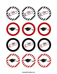 Graduation cupcake toppers. Use the circles for cupcakes, party favor tags, and more. Free printable PDF download at http://cupcakeprintables.com/toppers/graduation-cupcake-toppers/
