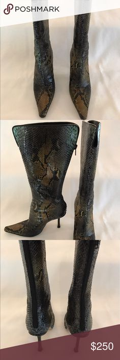 Jimmy Choo snakeskin multi-color heeled boots Amazing vintage Jimmy Choo multicolor snakeskin boots! Jimmy Choo Shoes Heeled Boots