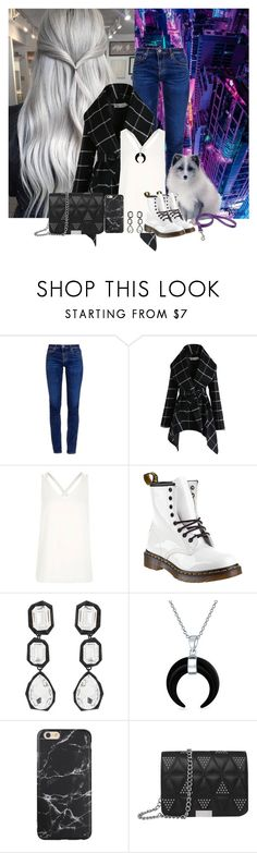 """""""I Need To Go Somewhere Where I Can Own A Fox"""" by kenziebass ❤ liked on Polyvore featuring AG Adriano Goldschmied, Chicwish, River Island, Dr. Martens, AMBUSH, Bling Jewelry, Boots, blackandwhite, arcticfox and ashblonde"""