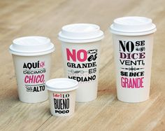 Vintage typography always gets my attention. The quotes on these cups are in Spanish. Each quote describes the size of the cup in a comical way.
