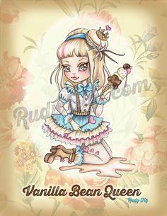 Vanilla Bean Queen Art Print by Rudy Fig, illustration, patisserie, macaron, sweets, kawaii, big eye girl, kitschy, baking, alice wonderland