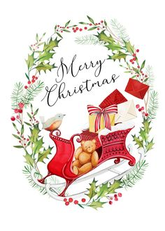 Leading Illustration & Publishing Agency based in London, New York & Marbella. Noel Christmas, Christmas Wishes, Christmas And New Year, All Things Christmas, Christmas Ideas, Christmas Decoupage, Christmas Stencils, Valentines Watercolor, Merry Christmas Background
