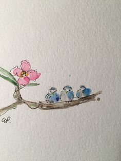 Three Little Birds Watercolor Card / Hand painted Watercolor Card Three Little Birds Watercolor Card / Hand painted by gardenblooms Watercolor Animals, Watercolour Painting, Watercolor Flowers, Painting & Drawing, Watercolors, Simple Watercolor, Tattoo Watercolor, Watercolor Background, Watercolor Landscape