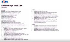 Slimming World - Lidl Syn-Free Food List