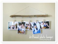 Driftwood Photo Hanger Tutorial : DIY Wood Crafts Recycle for Sam x Beach Crafts, Diy Crafts, Decoration Photo, Foto Fun, Driftwood Crafts, Picture Hangers, Photo On Wood, Diy Photo, Photo Displays